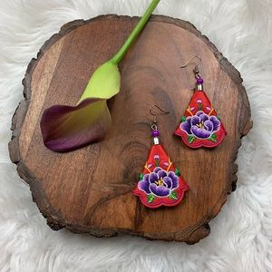 Red & Purple Floral Embroidered Statement Earrings